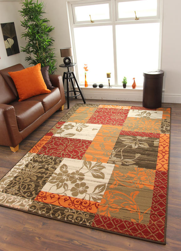 Orange And Brown Area Rugs Houzz