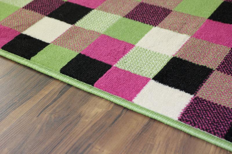 zeitloser teppich gr n schwarz pink quadratisch wasserfest pflegeleicht ebay. Black Bedroom Furniture Sets. Home Design Ideas