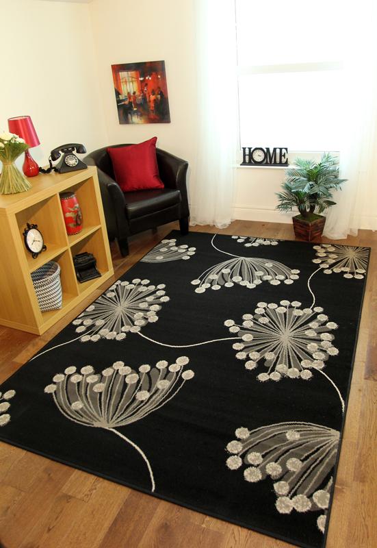 teppich schwarz grau grauwei blumenmuster pusteblume fleckenbest ndig milan. Black Bedroom Furniture Sets. Home Design Ideas