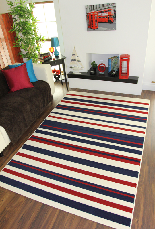 New Navy Blue Cream Red Striped Area Rug Fashionable Affordable Easy Clean Mi