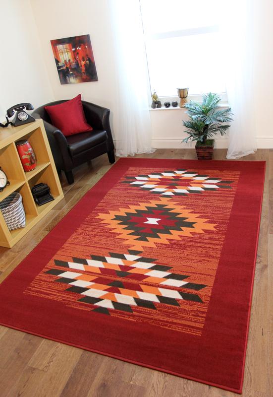 Teppich Warm Rot Terrakotta Braun Aztekenmuster Milan