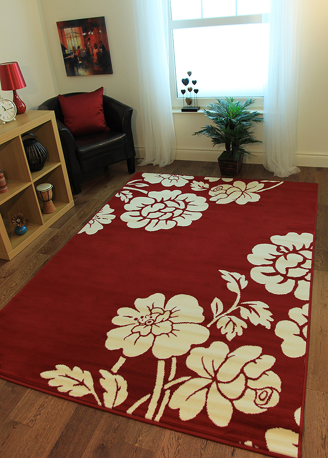 Warm Elegant Red Fireplace Rugs Affordable Soft Touch Floral Living Room Carp
