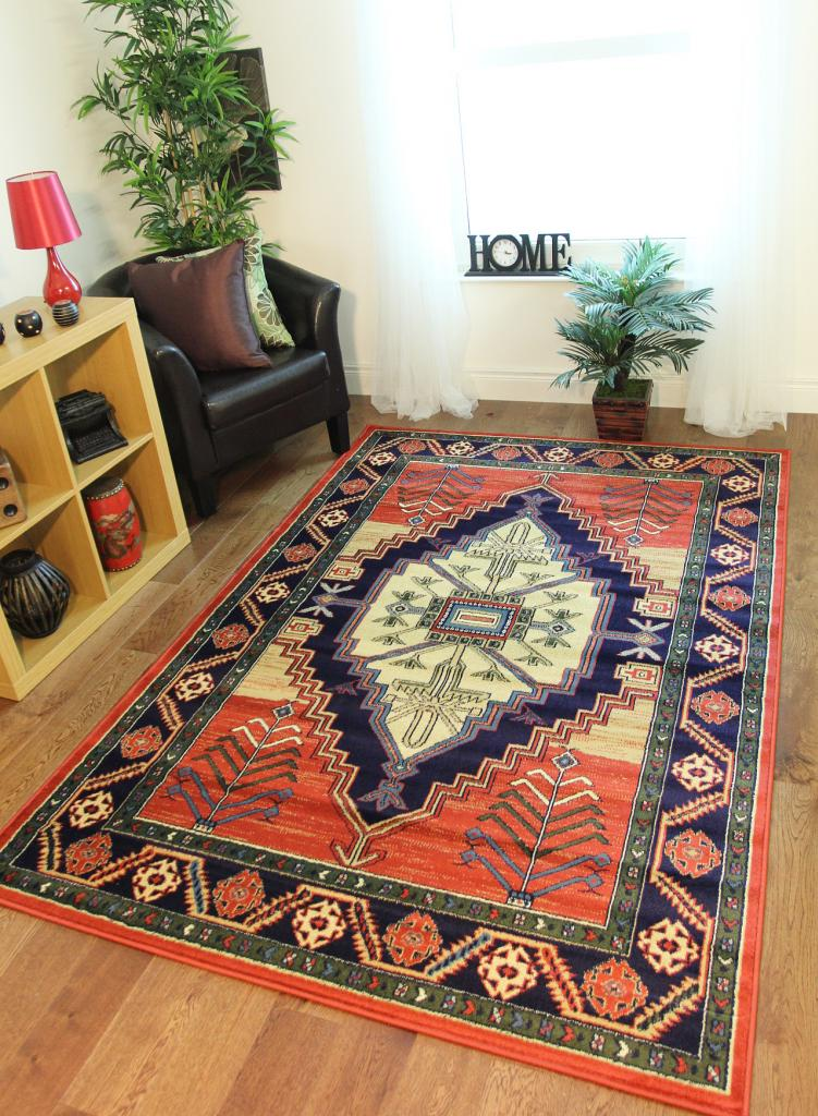 Traditional terracotta navy blue tribal print afghan style for Living room mats