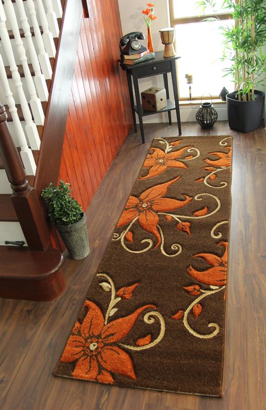 Brown Burnt Orange Beige Floral Motif Quality Rugs Stain