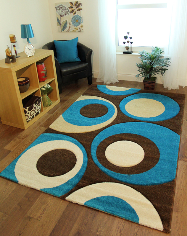 Teal Blue Chocolate Brown Cream Circle Motif Entrance Mats