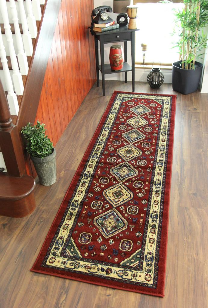 Cherry deep red beige green traditional afghan style for Contemporary runner rugs for hallway