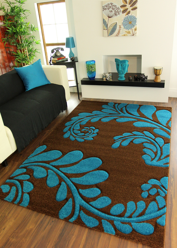 Awesome Chocolate Brown Teal Blue Leaf Design Havana Modern Affordable Dining Room  Rugs