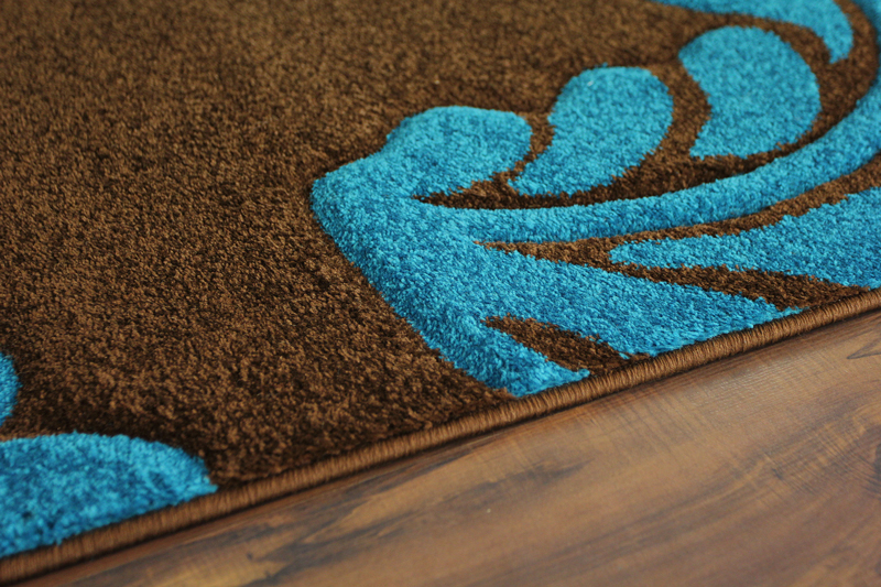 Chocolate Brown Teal Blue Leaf Design Havana Modern