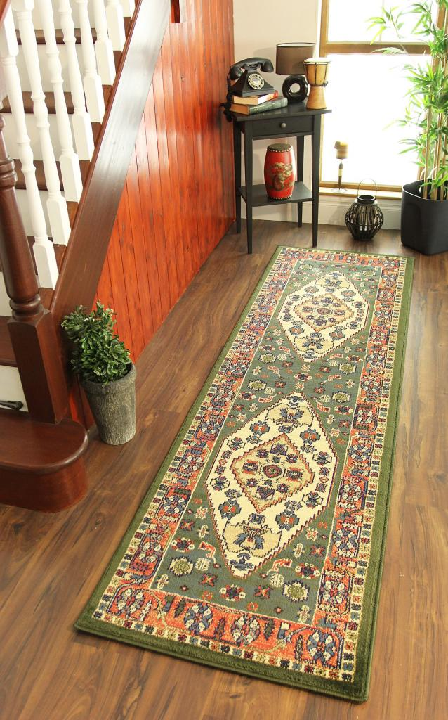 Foyer Runner Rug : Green terracotta cream sand traditional medallion print