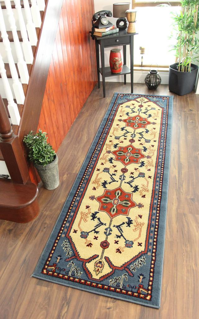 Traditional Indian Long Hallway Rugs Cornflower Blue Beige