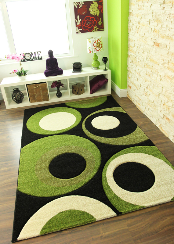 Lime Green Off White Circle Mats Great Value Low Cost