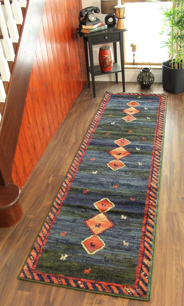 Navy Blue Olive Green Red Hall Runner Rug Unusual Modern