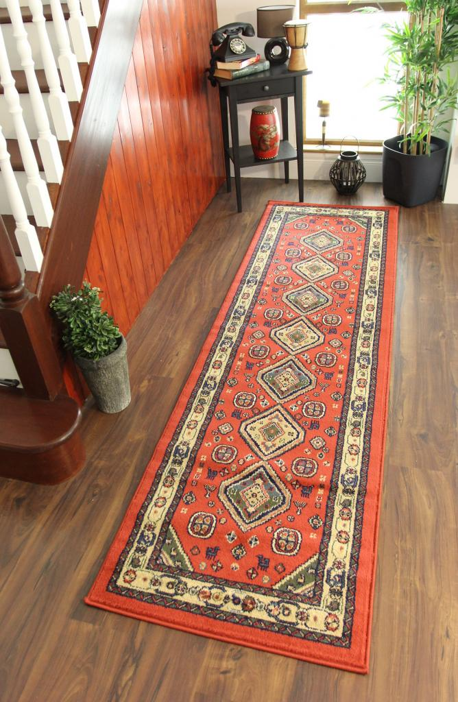 Traditional Design Mat Rust Orange Cream Long Hallway