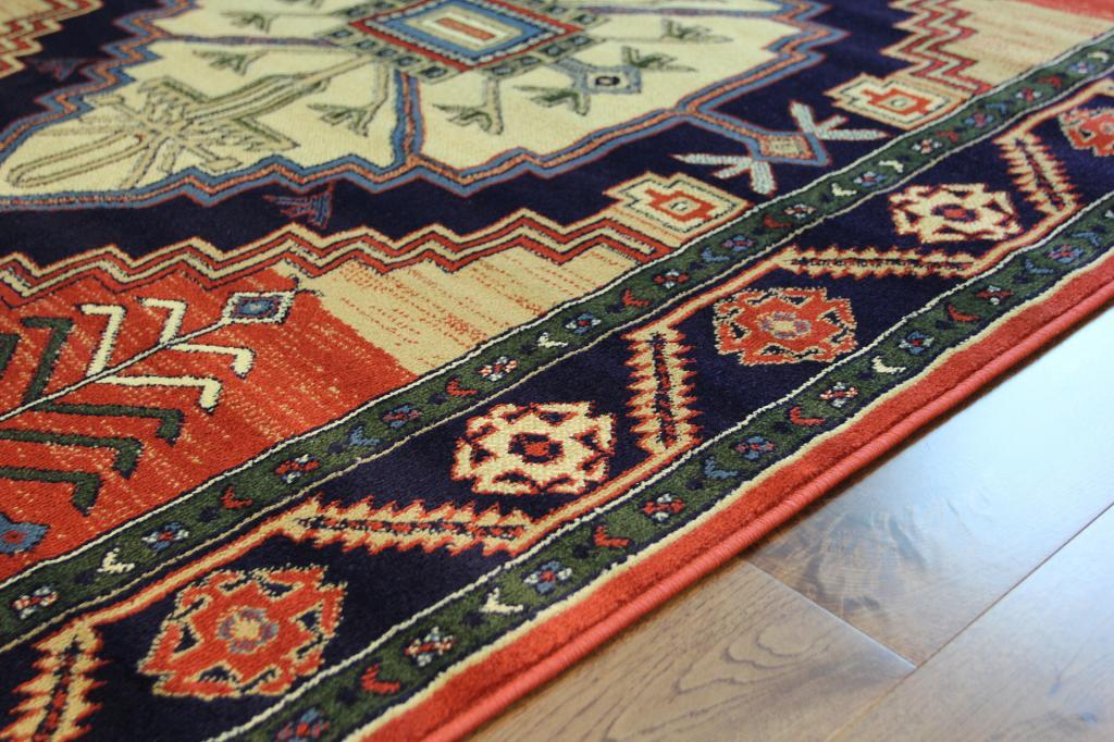 Teppich Läufer Traditionell Terrakotta Sand Marineblau
