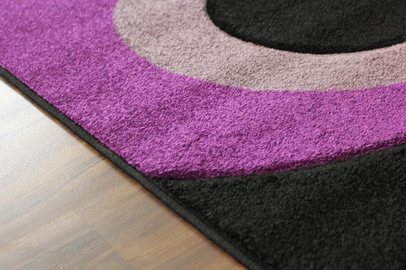 Contemporain Violet Noir Lilas Gris Bulles Tapis Large