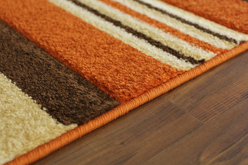 New Hand Carved Terracotta Striped Runner Rug Small Large