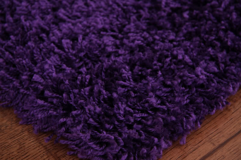 Thick Purple Modern Hall Runner Rug Soft Shaggy Long