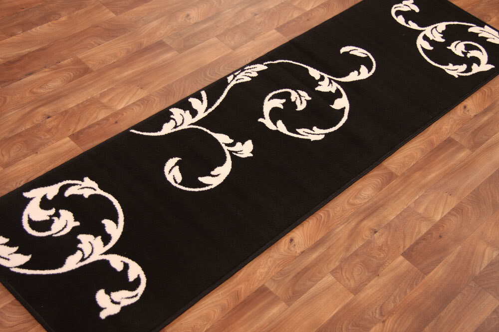 Narrow long short modern black ivory motif floral quality for Contemporary runner rugs for hallway