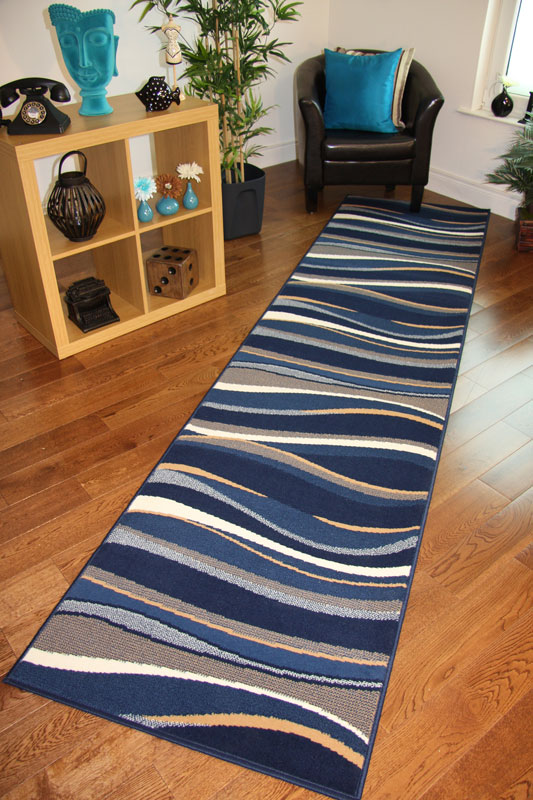 new funky long narrow rug cheap blue beige navy waves. Black Bedroom Furniture Sets. Home Design Ideas