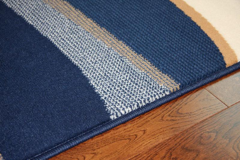 New Funky Long Narrow Rug Cheap Blue Beige Navy Waves Design Thin ...