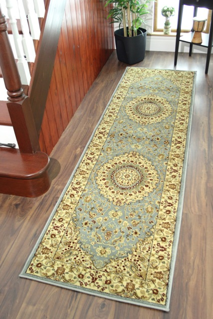 Powder Blue Thick Victorian Style Bedroom Rugs Small