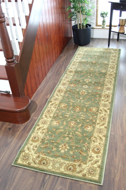 Moss Sage Green Soft Antique Style Runner Rugs Short Long
