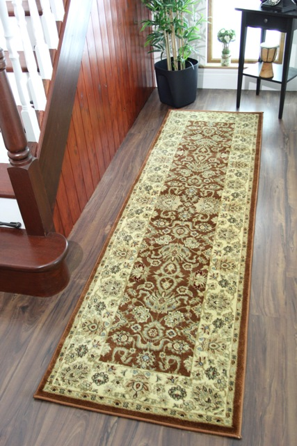 New Rose Brown Soft Thick Oriental Runner Rugs Extra Long
